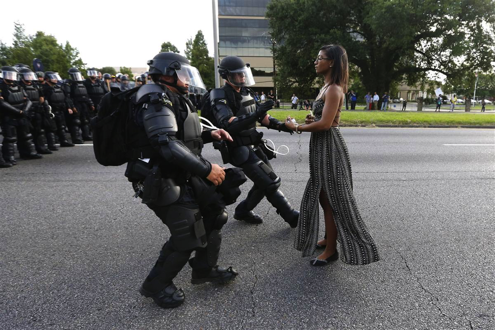 The protester Ieshia Evans being detained in Baton Rough, LA, on July 9, 2016. Jonathan Bachman/Reuters