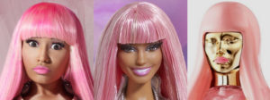 Nicki Minaj with pink wig next to a Barbie version next to a chrome plated version